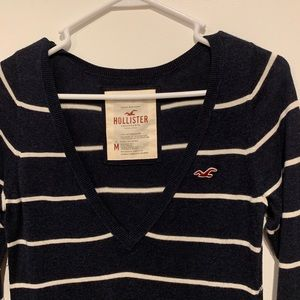 Striped Hollister V-Neck Sweater